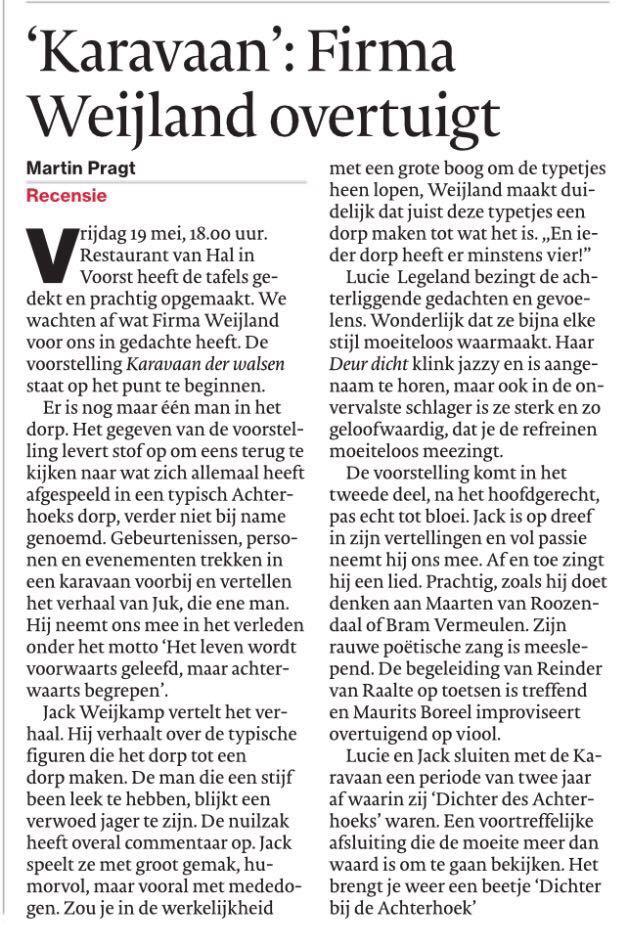 recensie Gelderlander 22 mei '17